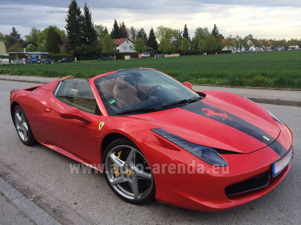 verona ferrari 458 italia spider cabrio rental