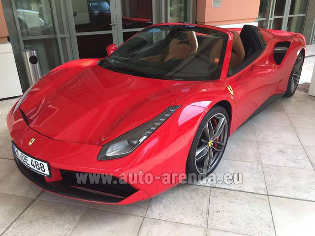 Hire and delivery to Venice airport the car Ferrari 488 GTB Spider Cabrio