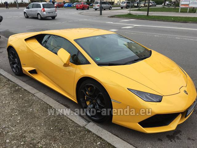 Hire and delivery to Venice airport the car Lamborghini Huracan LP 610-4 Yellow
