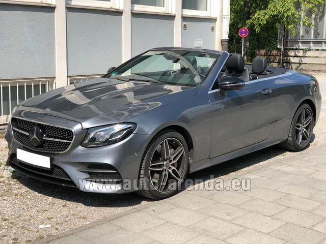 Hire and delivery to Roma-Fiumicino airport the car Mercedes-Benz E 450 Cabriolet AMG equipment