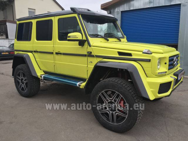 Hire and delivery to Rome-Ciampino airport the car Mercedes-Benz G 500 4x4 Yellow