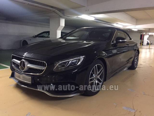 Hire and delivery to Roma-Fiumicino airport the car Mercedes-Benz S 500 Cabrio Black