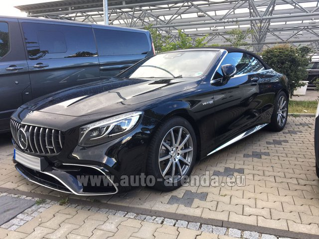 Hire and delivery to Roma-Fiumicino airport the car Mercedes-Benz S 63 AMG Cabriolet V8 BITURBO 4MATIC+