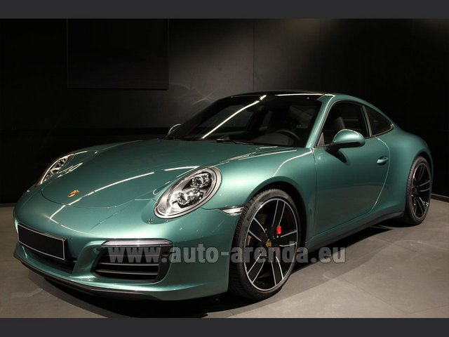 Hire and delivery to Roma-Fiumicino airport the car Porsche 911 991 4S Racinggreen Individual Sport Chrono